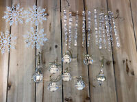Vintage Crystal Plastic Mixed Lot Christmas Ornaments- Icicles Pendants Snow-23