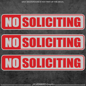 3x No Soliciting / sticker / window / office / store / label / decal / business
