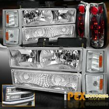 94-98 Chevy C/K Truck Chrome Headlights W/ Corner Signal & Smoke Tail Lights