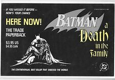Batman A Death In The Family promotional PROMO sign for trade paperback