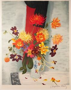 Roger Chapelain-Midy Still-Life Print Vase of Flowers Lithograph Hand Signed
