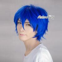 30CM Short Layered Royal Blue Stylish Party Hot Anime Men Cosplay Hair Wig