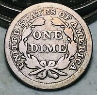 1849 Seated Liberty Dime 10c Ungraded Good Date Early 90% Silver US Coin CC7154