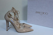 sz 7.5 / 37.5 Jimmy Choo Vita Nude Patent Leather Classic Pointed Toe Pump Shoes