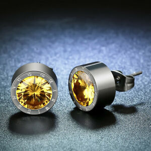 Silver Round Yellow Crystal Anti Allergic Stainless Steel Earring For Men'S Gif