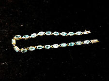 VINTAGE 14K YELLOW GOLD TOPAZ TENNIS BRACELET
