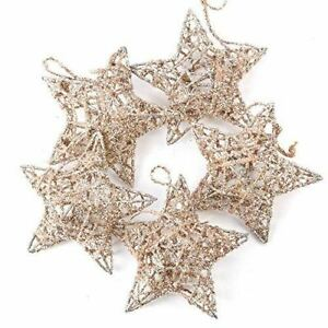 Champagne Glittered Star Ornaments | 15 Pieces