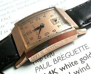 Very Clean Vintage 1950's Men's Paul Breguette 17 Jewel Swiss Tank Watch Runs
