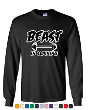 Beast In Training Long Sleeve T-Shirt Funny Gym Workout Fitness