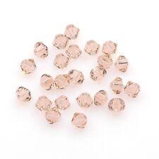Perles Toupies 4mm  Bicones - CRISTAL AUTRICHIEN - 5301 Vintage - Rose 6 pièces