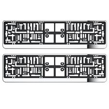 2X CHROME NUMBER PLATE HOLDER SURROUNDS FOR PEUGEOT WITH UK SPEC PLATE