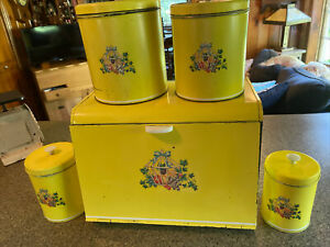 Vintage Kitchen Tin Bread Box & Canister Set