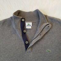 LACOSTE Size 7 (Men's XXL 2XL) 1/4 Zip/Button 100% Cotton Gray Pullover Sweater