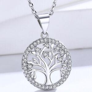 Damen Halskette Lebensbaum Anhänger 925 Sterling Silber Schmuck Frauen Geschenk