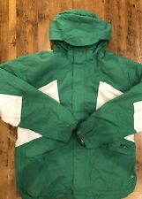 Burton System Snowboard Jacket + Zip-In Liner Men's Size XL Green White Hooded