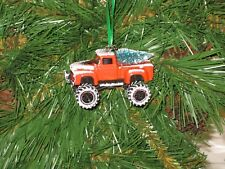 Jada 1956 Ford F-100 Pickup Red Custom Christmas Ornament w/tree,snow G