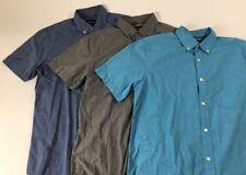 Lot of 3 Short Sleeve Pocket Button Shirts Men's Medium Basic Editions Blue Gray