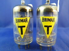 Matched Pair 6057/CV4004/E83CC/ECC83 Brimar-YELLOW # NOS # MILITARY COIN BOTTOM