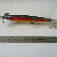 """FISHING LURE EGER BAIT 4""""  VINTAGE WOOD UNDER-WATER  MINNOW BELLY WEIGHT RAINBOW"""
