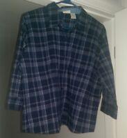 St John's Bay Womens Blue White Striped Button Down Shirt Top Blouse Size PXL