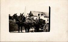 Postcard,Real Photo, Farm Couple, Wagon, Mules AZO,1900s