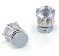 1 Pair Unisex CLIP ON Magnetic Ear Stud Earrings Clear Crystal Faux No Piercing