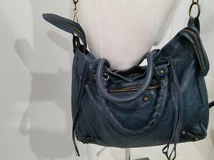 Auth BALENCIAGA  Large City Blue Jean Color Leather Satchel Shoulder Bag - 2015