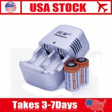 US! CR2 Charger For 3V lithium Rechargeable 3V Laser Camera Battery Charger set