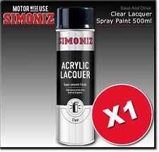 1 x Simoniz Large Clear Lacquer Acrylic Gloss Aerosol Spray Paint 500ml SIMP22D