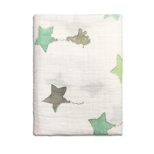 """1 Cotton Muslin Baby Swaddle Blanket Wrap 120x120cm 47"""" x 47"""" Elephant Star"""