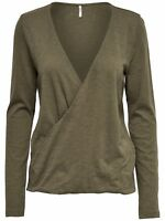 45/11 NEU ONLY Damen Langarm Shirt Top onlDENISA L/S WRAP TOP ESS  Gr. M khaki