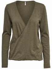 45/11 NUOVO Only donna manica lunga Top Top onldenisa L/S Wrap Top ESS Taglia M cachi
