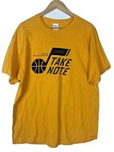 """Utah Jazz Basketball 2018 NBA Playoffs """" Take Note """" T-shirt Yellow Mens Size XL"""