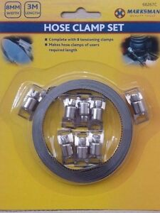 HOSE CLAMP 3M x 8mm METAL BAND HOSE CLAMP KIT WITH 8 TENSION CLAMPS