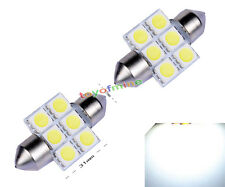 2X White 31mm 6 SMD 5050 Car LED Interior Festoon Dome Bulb Light Spot Lamp 12V