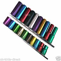 """3/8"""" METRIC DEEP AND SHALLOW SOCKETS MULTI-COLOURED 6PT 10mm -19mm C.V. STEEL"""