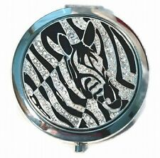 Zebra Crystal Compact Double Mirror Accented with Black Enamel Clear Crystals