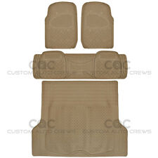 Beige Rubber Floor Mats For Car Suv With Cargo Mat 4 Piece Full Set Max Duty Fits 2003 Honda Pilot
