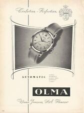 vintage 1955 print ad OLMA AUTOMATIC Swiss watch movement MID CENTURY ART