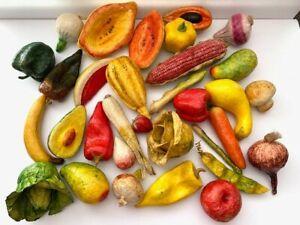 Vintage Folk Art Papier Paper Mache Fruit/Vegetable Lot of 32 Quality! FREE SHIP