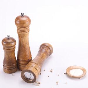 """5"""" 8"""" 10"""" Refillable Oak Wooden Salt Pepper Mill Spice Herb Manual Grinder"""