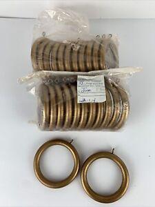 "Lot of 24 Gold Wooden Drapery Curtain Rings Crafts 3 3/4"" Eye Hooks 2 7/8"" inner"