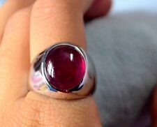 New fashion  925 sterling silver quality natural Ruby Cabochon men's Ring