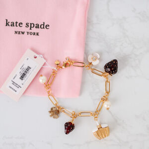 NWT Kate Spade Picnic Perfect Strawberries Charm Bracelet *RARE*