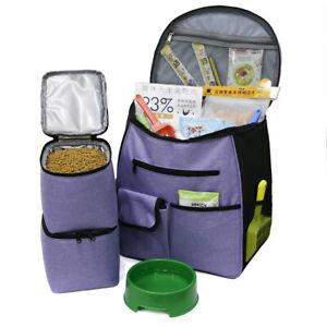 Pet Dog Travel Bag Tote Accessory Food Bowl Storage Backpack Carrier Shoulders