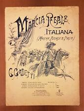 Spartito. MARCIA REALE ITALIANA G. Gabetti Pianoforte solo facile 1911 Forlivesi