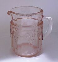 Vintage Cameo Ballerina Depression Glass Pink Pitcher Childrens Dishes Mosser
