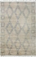 Geometric Moroccan Gabbeh Oriental Area Rug Hand-Knotted Plush Wool Carpet 5x9