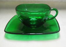 Anchor Hocking Forest Green Pressed Glass Cup and Saucer