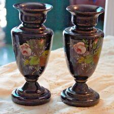 BRISTOL GLASS Pair Purple Hand Painted Vases Vase Floral VINTAGE